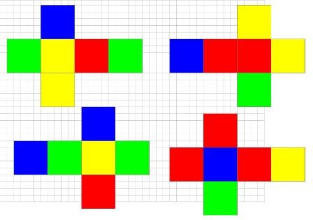 Вот эта схемка, можно наклеить нужные цвета на уже имеющиеся кубики, но лучше из бумаги склеить новые.